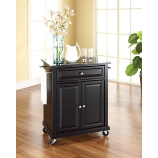 Solid Black Granite Top Portable Kitchen Cart/Island in Black Finish