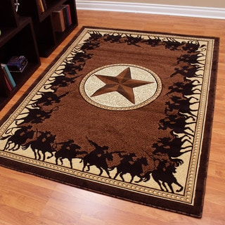Traditions Western Star w/Cowboy Design Chocolate Color Area Rug (5'x7')