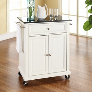 White Finish/Solid Black Granite Top Kitchen Cart/Island