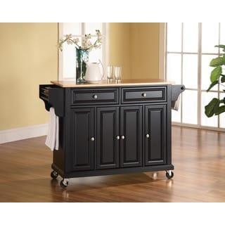 Crosley Furniture Black Finish Natural Wood Top Kitchen Cart/ Island