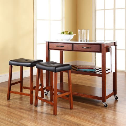 Cherry Wood Kitchen Cart/Island with Stainless Steel Top and 24-inch Cherry Upholstered Saddle Stools