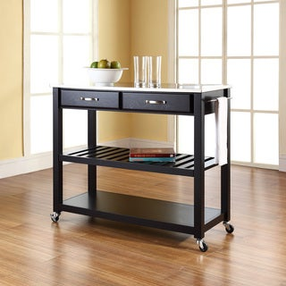Black Finish Stainless Steel Top Kitchen Cart/Island with Optional Stool Storage