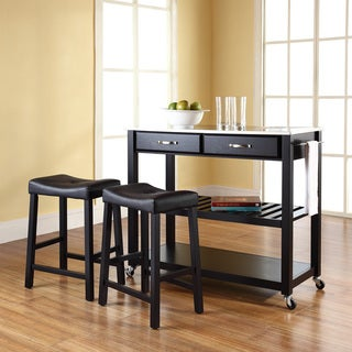 Crosley Furniture Black Stainless Steel Top Kitchen Cart/Island with 24-inch Upholstered Saddle Stools