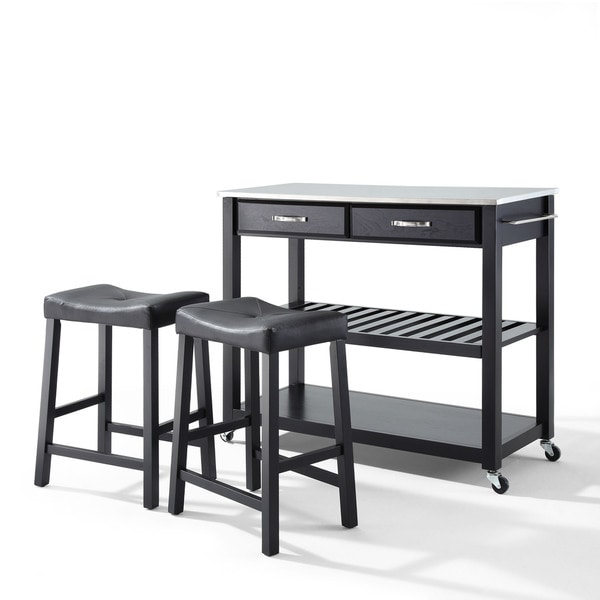 Carbon Loft Edwin Stainless Steel Top Black Finish Kitchen Cart with Upholstered Saddle Stools