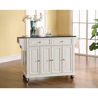 Solid Black Granite Top Kitchen Cart/Island in White Finish