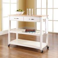 Maison Rouge Bridgford Natural Wood Top Kitchen Cart/ Island With Optional Stool Storage in White Finish