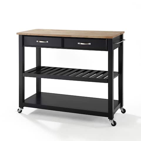 Carbon Loft Edwin Black Wood Kitchen Cart