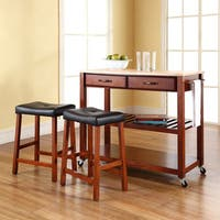 Crosley Furniture Cherry Wood Kitchen Cart/Island with Cherry 24-inch Upholstered Saddle Stools