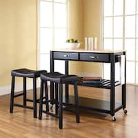 Crosley Furniture Black Natural Wood Top Kitchen Cart and Island with Black 24-inch Upholstered Saddle Stools