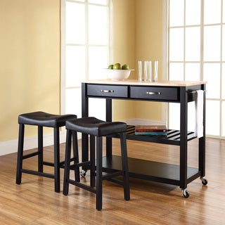 Black Natural Wood Top Kitchen Cart and Island with Black 24-inch Upholstered Saddle Stools