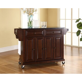 Solid Black Granite Top Kitchen Cart/Island in Vintage Mahogany Finish