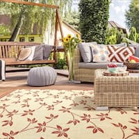 Flat Weave Benito Burgundy UV Polypropylene Indoor/Outdoor Area Rug (5' 3  x 7' 5)