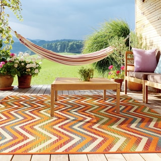 Flat Weave Playa Multi UV Indoor/Outdoor Area Rug (5'3 x 7'5)