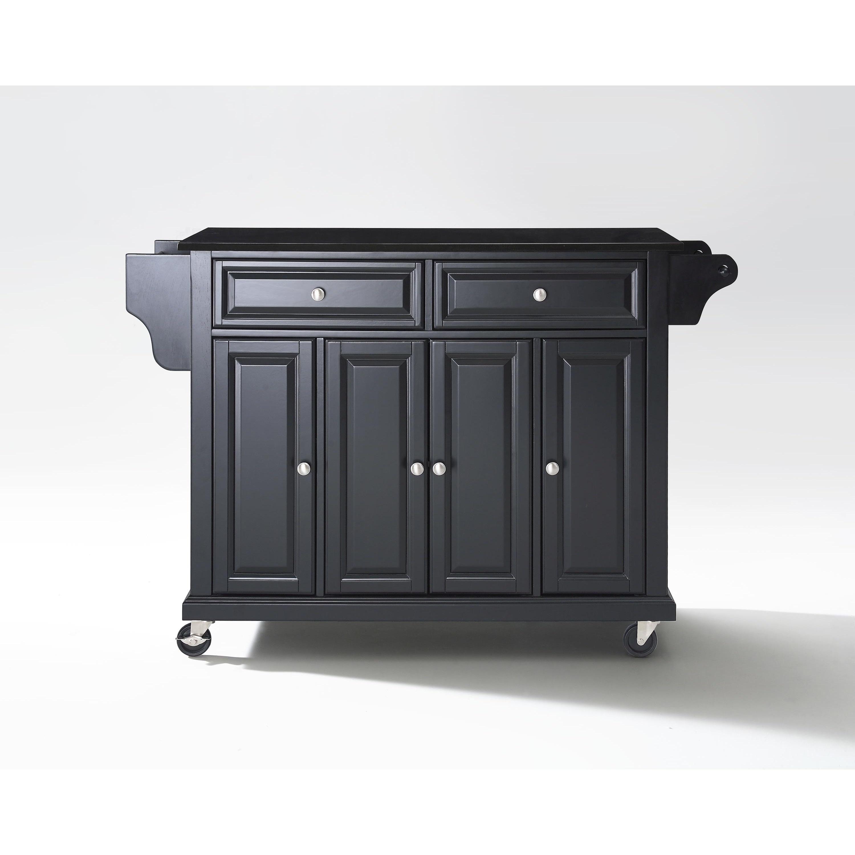 Crosley Furniture Black Wood Kitchen Cart/Island with Solid Black Granite Top