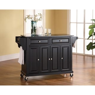 Crosley Furniture Black Wood Kitchen Cart/Island with Solid Black Granite Top