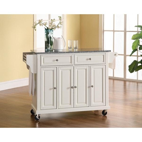 Crosley Furniture White Wood and Granite Kitchen Cart