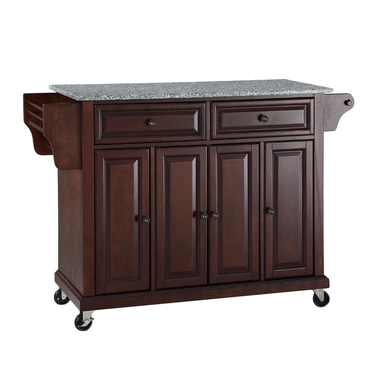 Crosley Furniture Vintage Mahogany Solid Granite Top Kitchen Cart