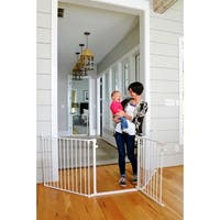 Free Standing 72 X 32 Inch 4 Panel Wooden Pet Gate Free
