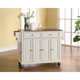 Crosley Furniture White Finish Stainless Steel Top Kitchen Cart and Island