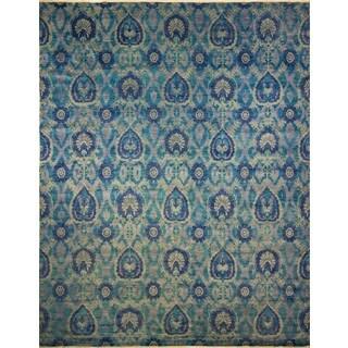 Fine Oushak Aicha Blue/Green Rug (12'0 x 14'10)