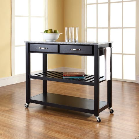 Black Wood Mobile Kitchen Cart/Island with Solid Granite Top and Optional Stool Storage