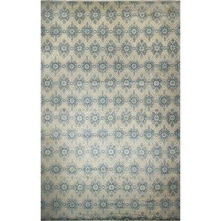 Hand-knotted Fine Oushak Behzad Grey/Blue Wool Area Rug (11'11 x 18'1)