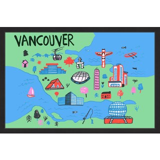 'Vancouver Architecture - Green' Framed Painting Print