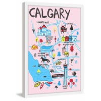 'Entertaining Calgary - Pink' Framed Painting Print