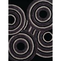 "Westfield Home Posh Shari Black Ultra Plush Shag Area Rug - 7'10"" x 10'6"""