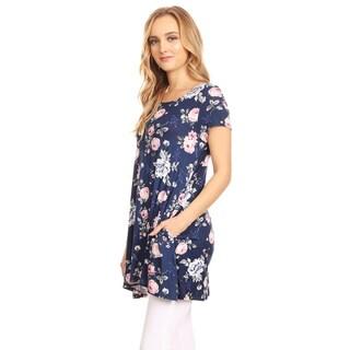 Women's Navy Floral Pattern Tunic