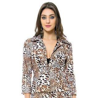 Sara Boo Animal Print 3/4 Sleeve Jacket