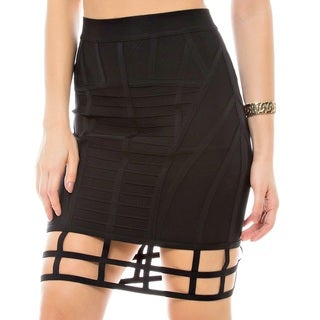 Sara Boo Lattice Hem Pencil Bandage Skirt