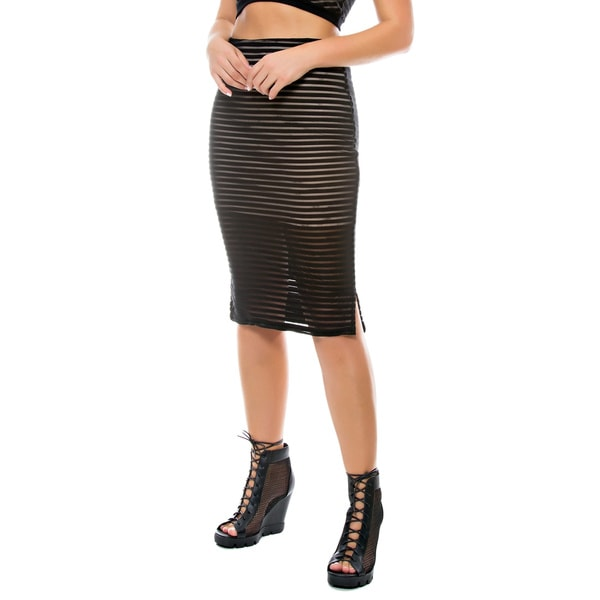 Sara Boo Sheer Mesh Midi Skirt