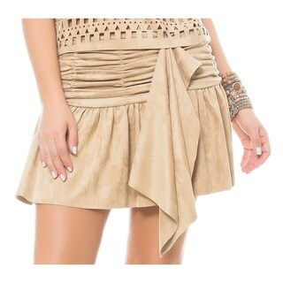Sara Boo Faux Suede Pleated Skirt
