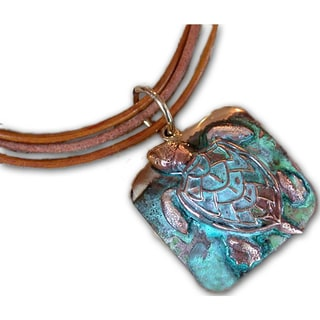 Handmade Verdigris Patina Sea Turtle Pendant By Elaine Coyne USA