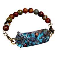 Handmade Patina Dragonfly Rockband Bracelet - Jasper (USA)
