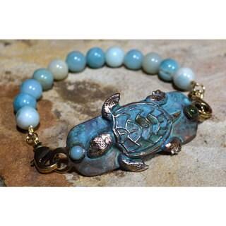 Handmade Patina Sea Turtle Rockband Bracelet - Jade, Amazonite (USA)