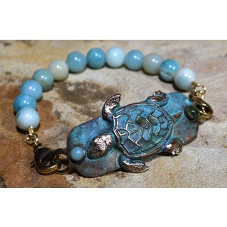 Handmade Patina Sea Turtle Rockband Bracelet - Jade, Amazonite (USA)
