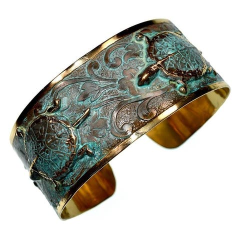 Handmade Patina Box Turtle Cuff Bracelet (USA)