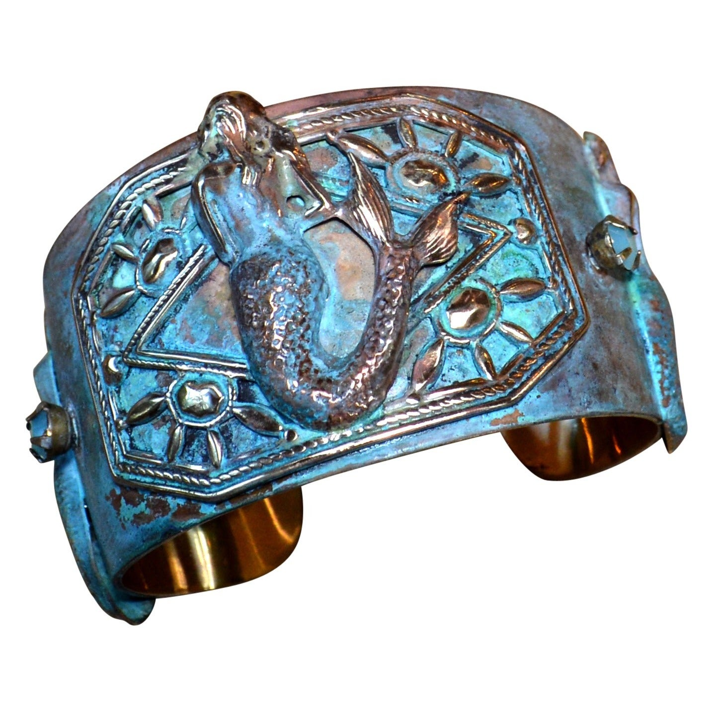 Handmade Patina Mermaid Cuff Bracelet with Swarovski Elem...