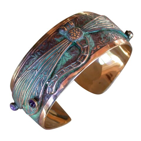 Handmade Patina Dragonfly Cuff Bracelet with Amethyst and Garnet by Elaine Coyne (United States)