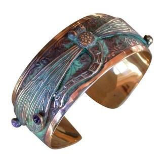 Handmade Patina Dragonfly Cuff Bracelet with Amethyst and Garnet by Elaine Coyne|https://ak1.ostkcdn.com/images/products/15318307/P21783948.jpg?_ostk_perf_=percv&impolicy=medium