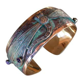 Handmade Patina Dragonfly Cuff Bracelet with Amethyst and Garnet by Elaine Coyne|https://ak1.ostkcdn.com/images/products/15318307/P21783948.jpg?impolicy=medium