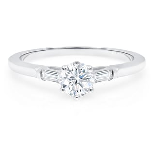 LeZari & Co. 0.65ct TDW Petite Round and Baguette Classic Diamond Engagement Ring 14K White Gold (G-H, VS1-VS2)