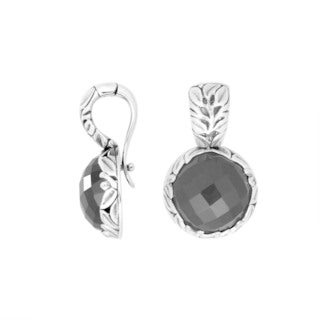 Handcrafted Artisan-made Sterling Silver Round Gemstone Clip-On Pendant (Indonesia)
