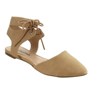 CityClassified IF08 Women's Lace Up Ankle Strap Backless D'orsay Flats
