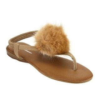 Forever IE66 Women's Pom Pom T-strap Thong Beach Sandal