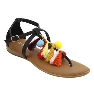 Forever IE62 Women's Bohemian Festival Tassel Buckle T-strap Sandal