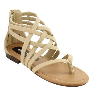 Beston ID69 Women's Gladiator Strappy Back Zipper Thong Flat Sandal