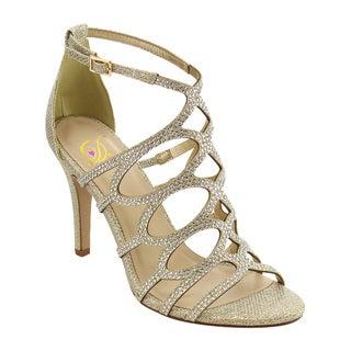 Delicious IE14 Women's Glitter Caged Ankle Strap Stiletto Heel Dress Sandal
